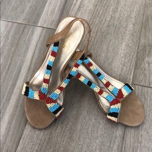 Vintage Beaded Heeled Sandal